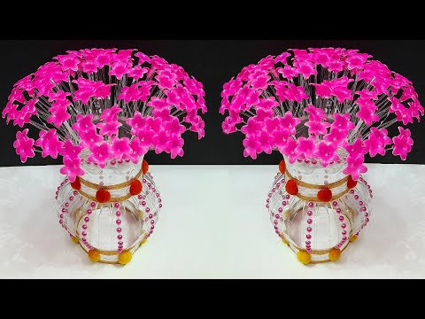 DIY- bouquet/Guldasta with Flower vase made from plastic bottle| DIY room decoration idea