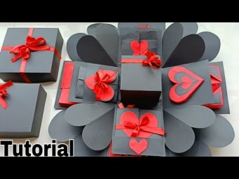 Valentine Special Explosion Box Tutorial||Black &Red Valentine Explosion Box Full Tutorial||