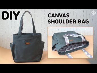 DIY CANVAS SHOULDER BAG/ How to make an eco bag with side pockets/ [Tendersmile Handmade]