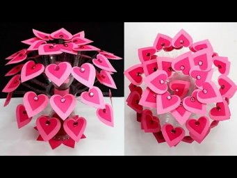 Guldasta made with  Plastic bottles & Paper flowers for valentine day special|DIY Room decor idea