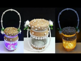 Lantern made with jar & jute rope| Best out of waste home decoration ideas