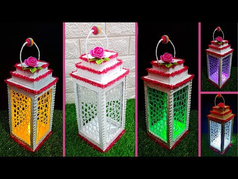 Lantern/Lampshade with Hot silicon Glue at home| DIY Home Decorations Idea