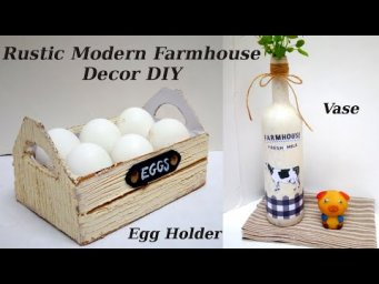 How to make EGG HOLDER & VASE - Rustic Modern Farmhouse Decor DIY from Trash to Treasure