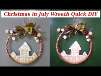Quick & Easy Christmas in July Gingerbread Village Wreath DIY #WithMe