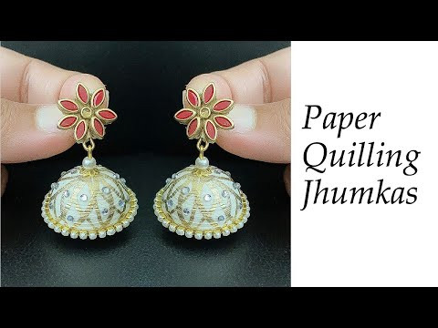Quilling Jhumkas/Making Beautiful Traditional Jhumkas/Party wear jhumka making at home/paper jhumkas