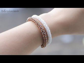 Tubular netted bracelet with only seed beads DIY. How to make beaded bracelet