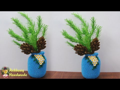 Crepe paper  christmas pine cone Christmas decoration idea | DIY  Paper Christmas  tree