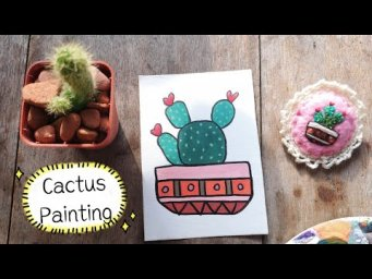 Quick & Easy Cactus Pot Painting | Acrylic & Watercolor Painting | DIY