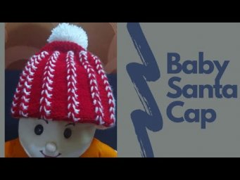 Red and White Cap/Topi, for kids and child, Hand Knitted by soft woolen, cloth @Mummas Knitting