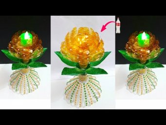 Tealight holder/Showpiece made from Plastic Bottle| Best out of waste room decoration ideas
