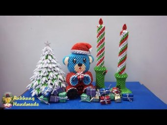 3d origami christmas candle | DIY paper christmas candle , christmas decoration idea