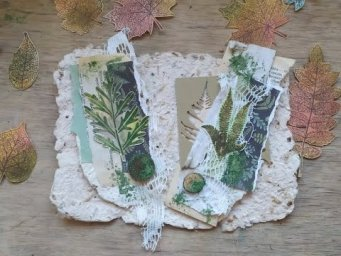 How to make green collage clusters with botanical ephemera / eco junk journal moss imitation