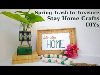 2 Modern Boho Farmhouse Trash to Treasure DIY Stay Home With Me Crafts