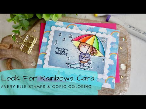 Look for Rainbows Card | Copic Coloring + Distress Oxides | Avery Elle Stamps