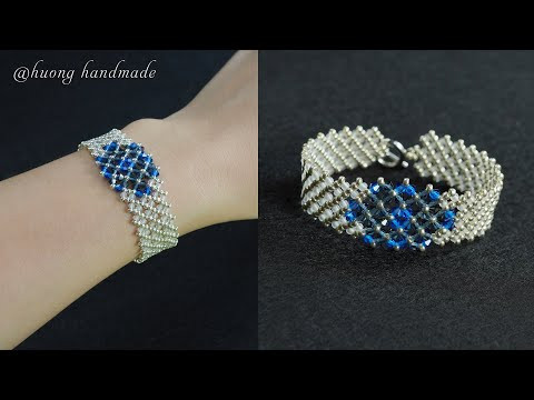 DIY elegant beaded bracelet with seed beads and swarovski bicone beads