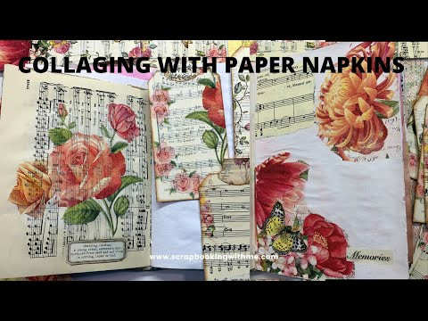 COLLAGING PAGES WITH PAPER NAPKINS IN OUR JANUARY JOURNAL
