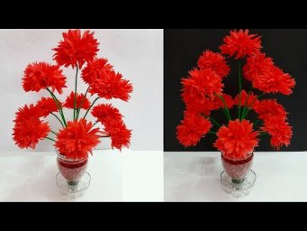 How to Make Shopping Bag Flower Bouquet/Guldasta  with  Plastic bottle|DIY-room decoration idea