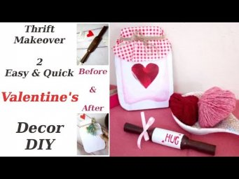 Valentine's DIY Rolling Pin & Heart Jar Sign Decor Thrift Makeover Before & After