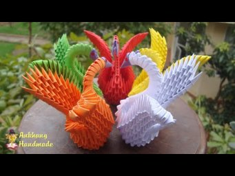 3D Origami Swan V3 Tutorial | DIY Paper Miniature Swan Home Decoration