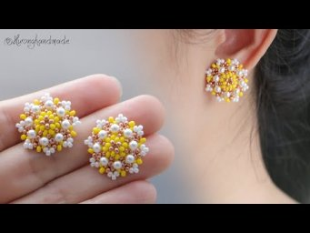 Spring flower earrings. How to make beaded stud earrings