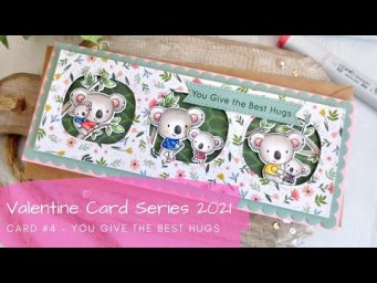 Valentine Card Series 2021 #4 | Copic Coloring a Slimline Card | MFT Stamps