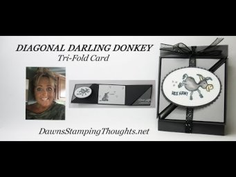 DIAGONAL DARLING DONKEYS  Tri Fold Card