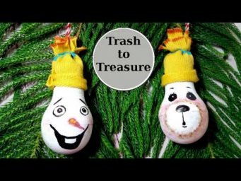 DIY Olaf Snowman & Bear Christmas Ornaments from Trash to Treasure Christmas Decor