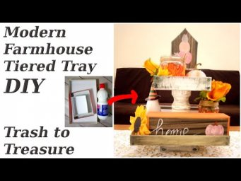 Modern Farmhouse Tier Tray DIY / Trash to Treasure / Cardboard Plastic Decor / MomDas Life Handmade