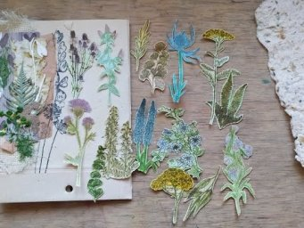 Stamping and pencil coloring your own botanical ephemera / eco junk journal  fussy-cut flowers
