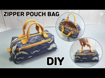 DIY Double Zipper Pouch Bag / Mini Hand bag /  Free Pattern /Sewing Tutorial [Tendersmile Handmade]