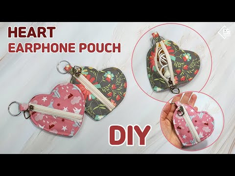 DIY  HEART ZIPPER POUCH/ Easy earphone pouch/ coin purse/  sewing tutorial [Tendersmile Handmade]