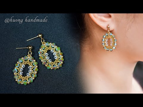 Super quick and easy to make beaded earrings for beginners. Oval beaded earring