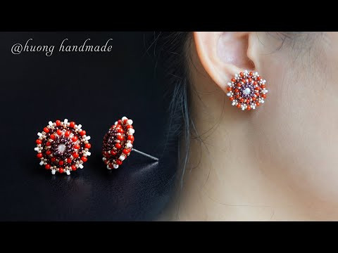 Roselle beaded stud earrings. Christmas gift ideas. How to make beaded jewelry