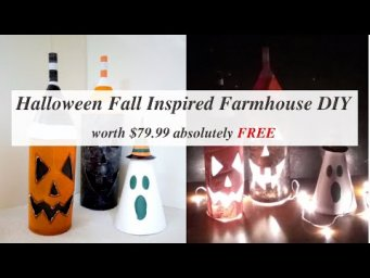 Jack-O-Lantern & Ghost Fall Farmhouse Halloween Inspired Look 4 Less Decor DIY MomDas Life Handmade