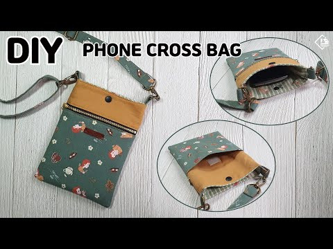 DIY PHONE PURSE BAG/ Mini Cross Bag/ 3-Pocket Pouch Bag/ sewing tutorials [Tendersmile Handmade]
