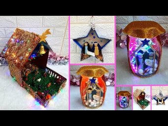 3 Low budget Handmade Christmas nativity scene | Best out of waste Economical Christmas craft idea