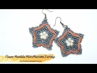 How to make a macrame earrings DIY: Flower Mandala Micro macrame Earrings by Thaohandmade channel