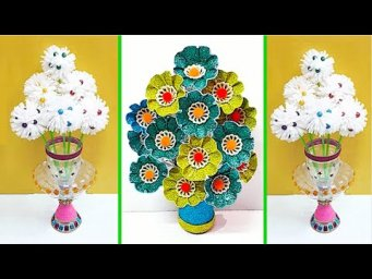 2 flower Bouquet made From waste recycled materials |DIY home decoration idea
