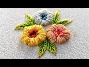 Hand Embroidery Ideas : 3D Fluffy Flowers