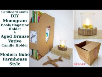 2 Modern Boho Farmhouse Useful DIY Monogram Book Holder Bronze Candle Holder from Cardboard May 2020