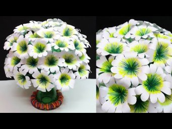 DIY-Paper flower Bouquet made with Empty Plastic bottle|DIY-Paper flowers Guldasta making idea