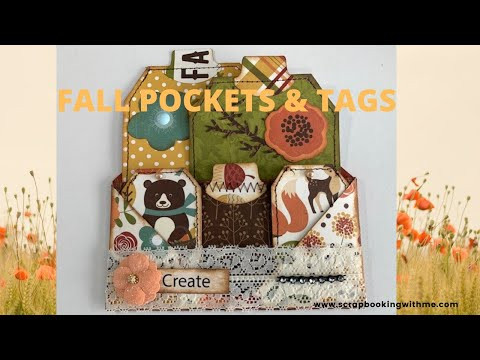 HOW TO MAKE FALL POCKET CARDS WITH TAGS ~ FOR JOURNALS, MINI ALBUMS ~ CAN BE MADE ANY SIZE.