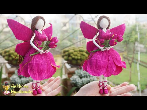 Flower fairy doll tutorial | DIY  crepe paper fairy doll home decoration idea
