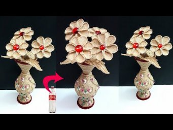 DIY Flower stick with flower vase made from Plastic bottle & Jute rope |DIY-Room decoration idea