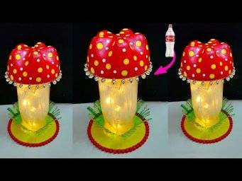 DIY Handmade mushroom shape Lamp/Lampshade made from Plastic Bottle| DIY home decoration ideas