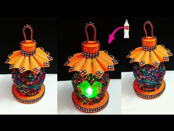 Lantern/Lamp made with Plastic Bottle and foam sheet at home| DIY room decoration idea