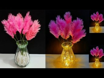 DIY Feather stick/Showpiece  with light made from wool | DIY room decoration idea