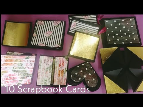 Scrapbook Cards Tutorial || 10 Easy Scrapbook Cards Tutorial||How to make cards for Scrapbook