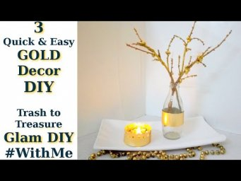3 FREE Quick & Easy GOLD Glam Modern Farmhouse Decor DIYs Trash to Treasure #WithMe