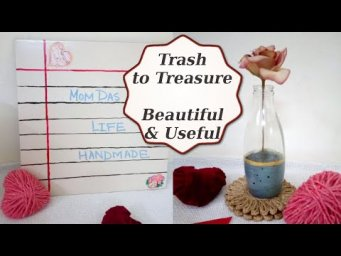 DIY Dry Erase Board & Modern Concrete and Glass Vase Using Trash to Create Treasure Before and After